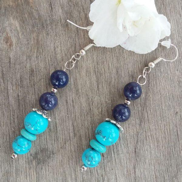 Titokzatos kincs – kék kvarc, rekonstruált türkiz ásvány fülbevaló