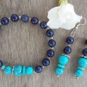 Titokzatos kincs – kék kvarc, rekonstruált türkiz ásvány karkötő és fülbevaló